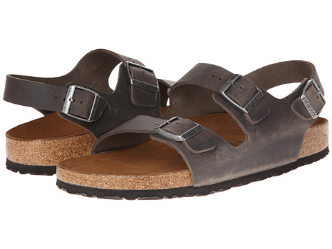 Birkenstock - Milano - Leather Soft Footbed (Unisex) (Iron) Sandals