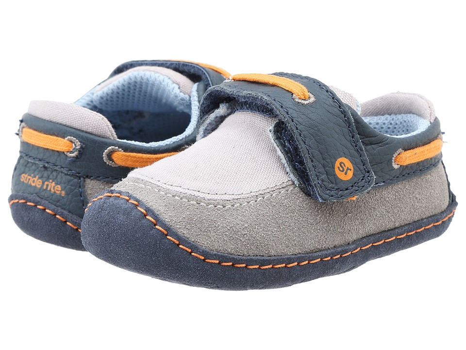 Stride Rite - Crawl Mariner Monty (Infant/Toddler) (Gray/Navy/Orange) Boy's Shoes