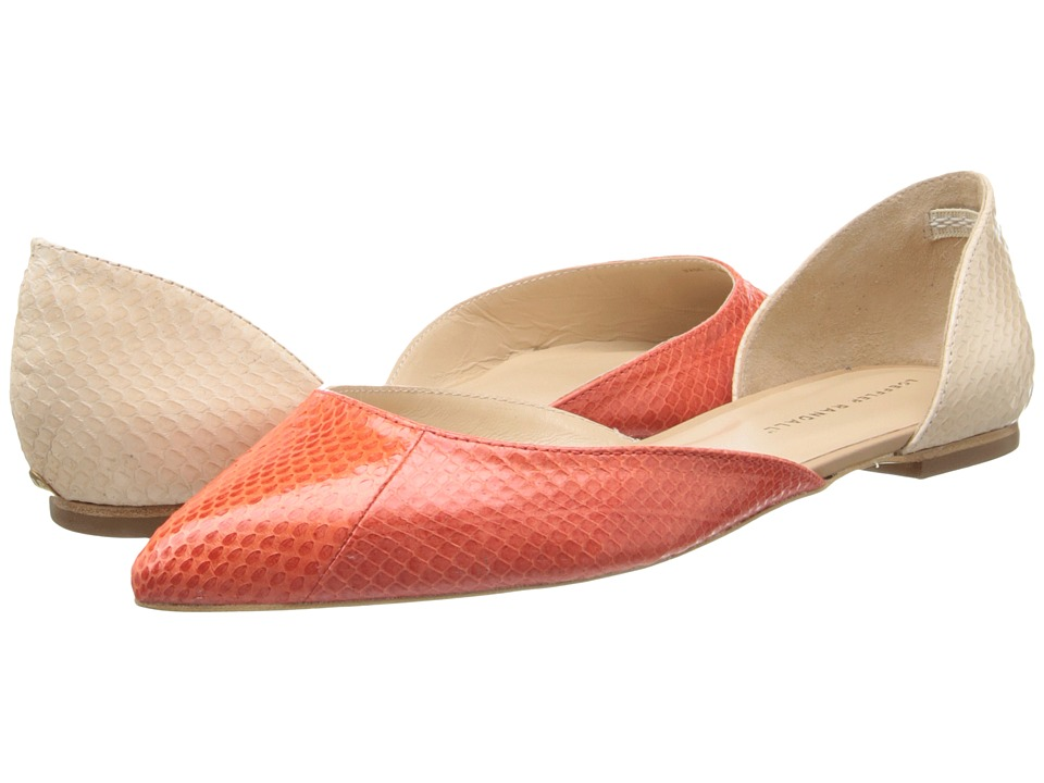 Loeffler Randall - Emma (Papaya/Cr me Watersnake) Women's Flat Shoes