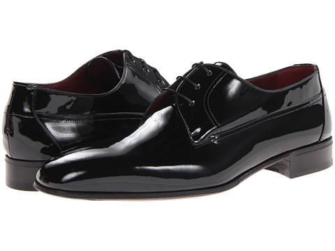 a. testoni - Patent Plain Toe Oxford (Black) Men's Lace up casual Shoes