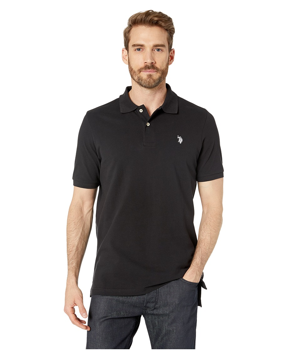 U.S. POLO ASSN. - Solid Cotton Pique Polo with Small Pony (Black/White) Men's Short Sleeve Knit