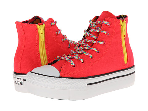 Converse Kids - Chuck Taylor All Star Platform Zip Hi (Little Kid/Big Kid) (Diva Pink) Girls Shoes
