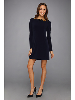 SALE! $49.99 - Save $78 on Vince Camuto L S Jersey Dress w Neckline Embellishment (Navy) Apparel - 60.95% OFF $128.00