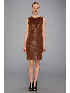 SALE! $39.99 - Save $88 on Vince Camuto Sleeveless Textured Faux Leather Sheath (Brown) Apparel - 68.76% OFF $128.00