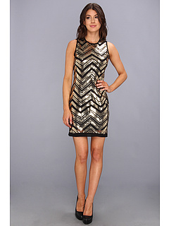 SALE! $59.99 - Save $88 on Vince Camuto Chevron Sequinned S L Shift Dress (Black Gold) Apparel - 59.47% OFF $148.00