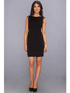 SALE! $49.99 - Save $98 on Vince Camuto Fitted Ponte Dress w Spikes on Shoulders (Black) Apparel - 66.22% OFF $148.00
