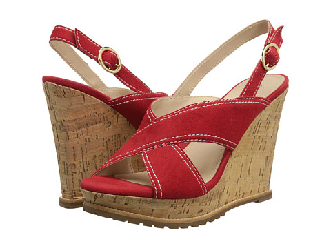 Diane von Furstenberg - Sylvia (Chili Pepper Suede) Women's Wedge Shoes