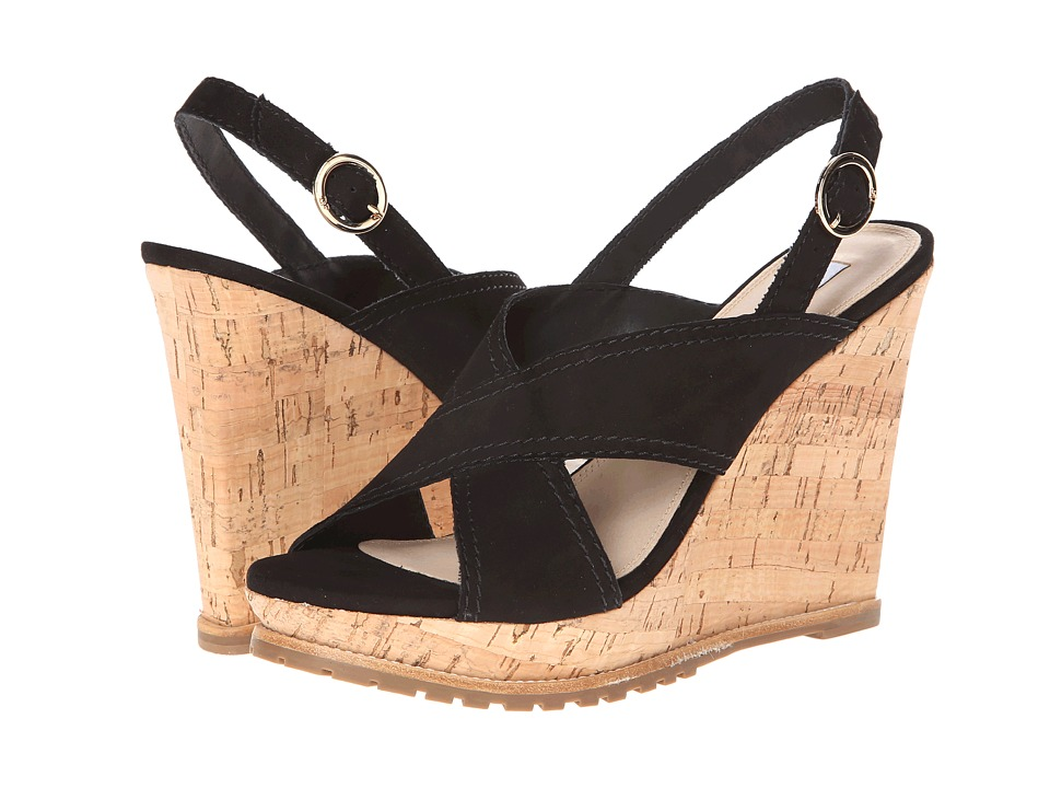 Diane von Furstenberg - Sylvia (Black Suede) Women's Wedge Shoes