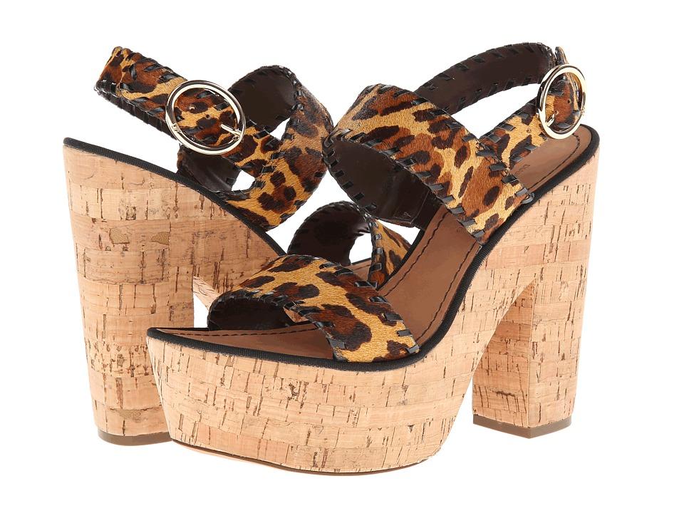 Diane von Furstenberg - Remy (Camel Leopard Print Haircalf/Black Calf) High Heels