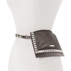 MICHAEL Michael Kors Michael Kors Haircalf Belt Bag With Pyramid Stud Flap (Black) Women's Belts