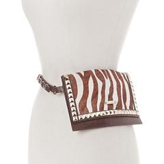 MICHAEL Michael Kors Michael Kors Haircalf Belt Bag With Pyramid Stud Flap (Zebra) Women's Belts
