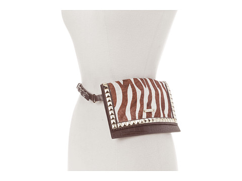 MICHAEL Michael Kors - Michael Kors Haircalf Belt Bag With Pyramid Stud Flap (Zebra) Women's Belts