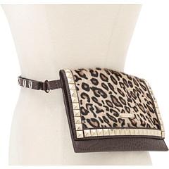 MICHAEL Michael Kors Michael Kors Haircalf Belt Bag With Pyramid Stud Flap (Leopard) Women's Belts