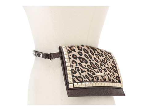 MICHAEL Michael Kors Michael Kors Haircalf Belt Bag With Pyramid Stud Flap (Leopard) Women's Belts