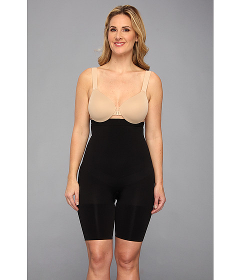 Spanx - Plus Size Slim Cognito Shaping Mid-Thigh Bodysuit (Black) Women's Underwear
