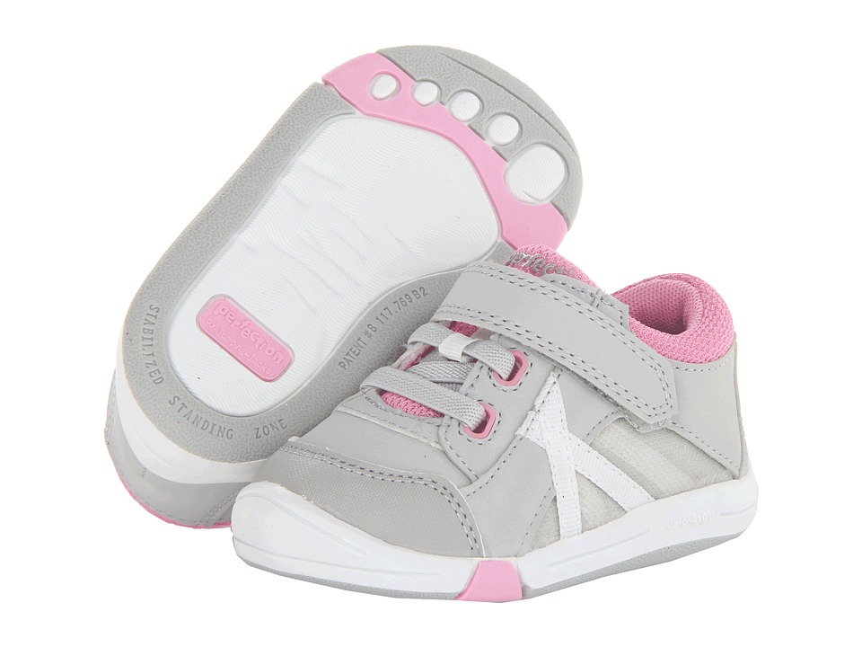 Jumping Jacks Kids - Finish Line (Toddler) (Light Gray/Pink/Gray Trim) Girl's Shoes