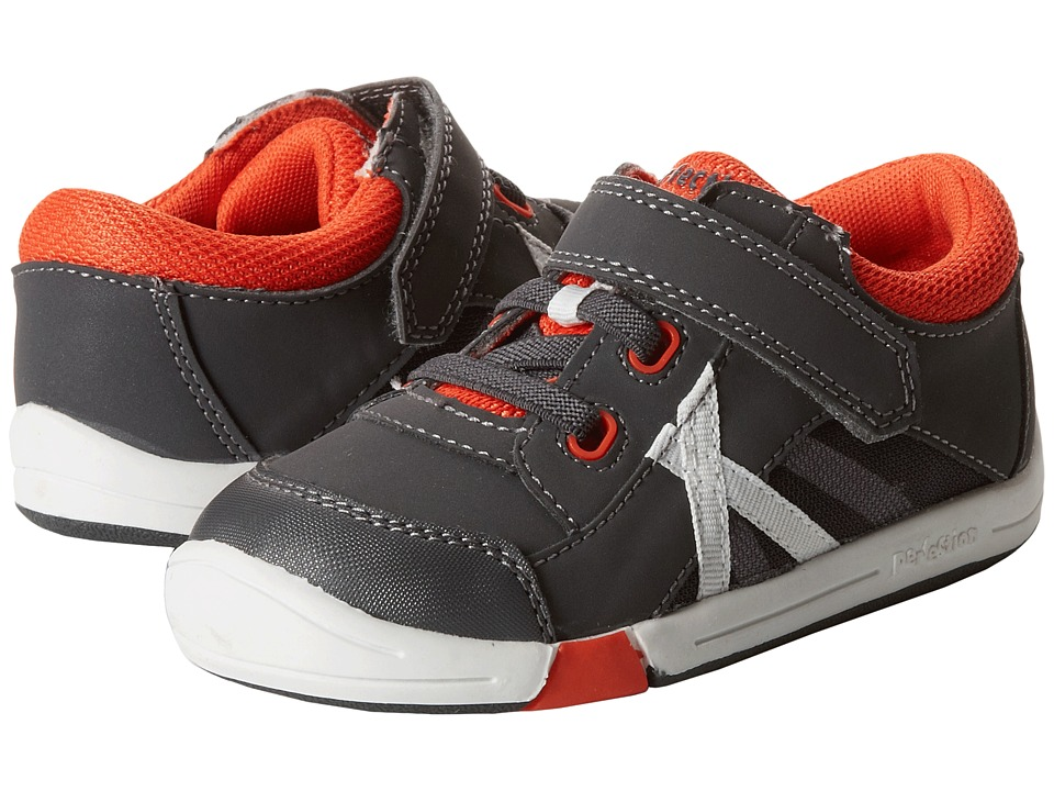Jumping Jacks Kids - Finish Line (Toddler) (Dark Gray/Orange/Gray Trim) Boy's Shoes