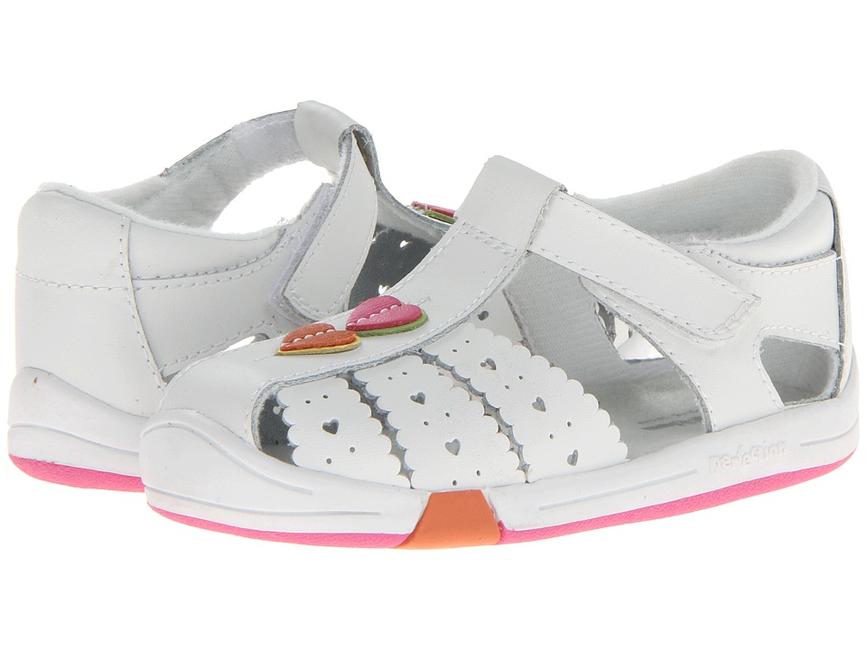 Jumping Jacks Kids - Heart Line (Toddler) (White Leather/Multi Trim) Girl's Shoes