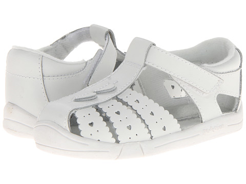 Jumping Jacks Kids - Heart Line (Toddler) (White Leather) Girl's Shoes