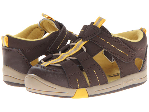 Jumping Jacks Kids - Beach Baby (Toddler) (Chocolate Brown Suede/Chocolate/Gold Trim) Boy