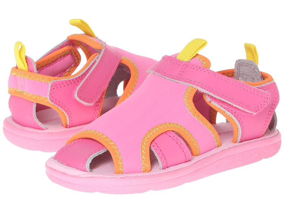 Jumping Jacks Kids - Water Baby (Toddler/Little Kid) (Hot Pink Leather/Hot Pink/Tangerine Trim) Girl's Shoes