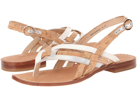Diane von Furstenberg - Carley (Silver Metallic Nappa/Nat Cork/White Vacchetta/Gold Nappa) Women's Sandals