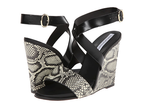 Shop Diane von Furstenberg online and buy Diane von Furstenberg Wilma Black-White Roccia Snake Print-Black Vacchetta Womens Wedge Shoes shoes online