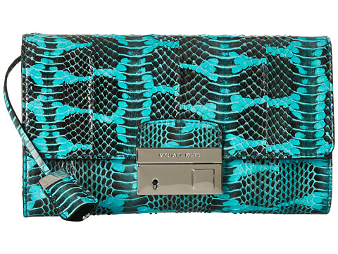 Michael Kors Collection Gia Clutch with Lock (Aqua) Clutch Handbags