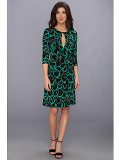 SALE! $46.99 - Save $51 on Nine West Lynx Print L S Wrap Dress w Keyhole (Black Combo) Apparel - 52.05% OFF $98.00