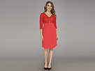 Nine West - Daisy Lace 3/4 Sleeve V-Neck A-Line Dress (Coral Confession) - Apparel