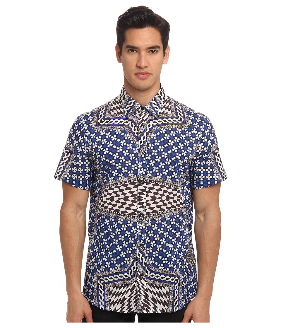 Just Cavalli - Miami Wallpaper Print S/S Button Up (Bluette) Men's Short Sleeve Button Up