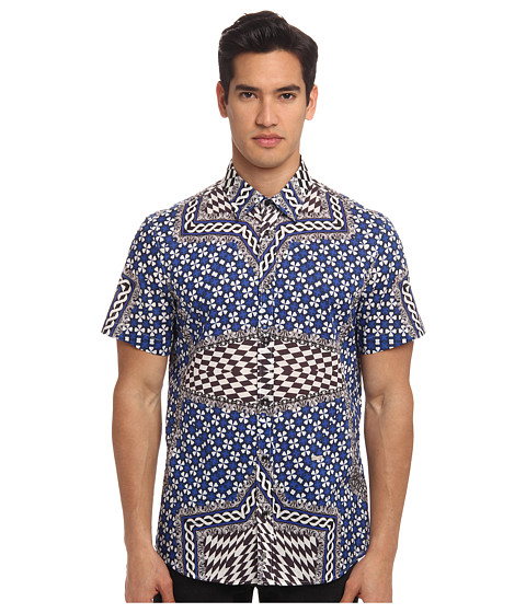 Just Cavalli - Miami Wallpaper Print S/S Button Up (Bluette) Men