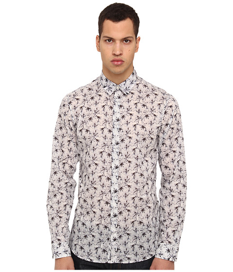 Just Cavalli - Orchid Wallpaper Print L/S Button Up (White) Men's Long Sleeve Button Up