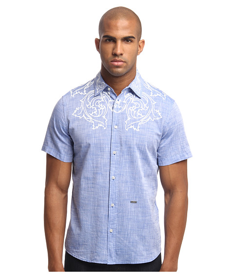 Just Cavalli - Slim Fit Button Up (Steel Blue) Men's Long Sleeve Button Up