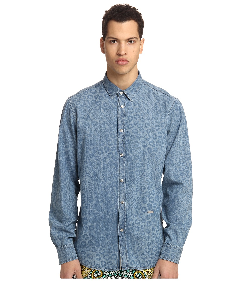 Just Cavalli - L/S Denim Button Up (Blue Denim) Men