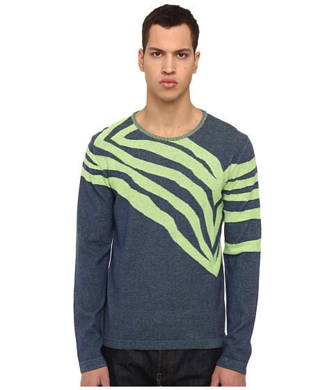 Just Cavalli - L/S Crewneck Sweater (Blue Navy/Lime) Men