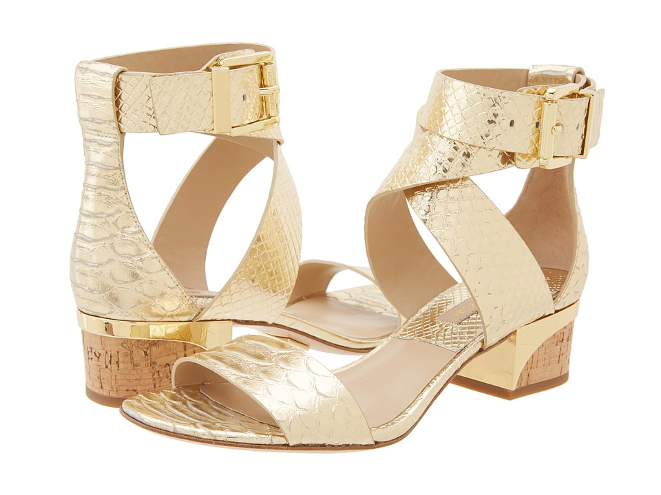 Michael Kors - Tulia (Pale Gold Metallic Emabossed Python/Cork) Women's 1-2 inch heel Shoes