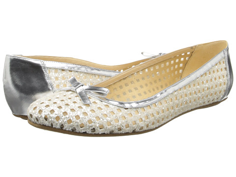 Kate Spade New York - Bellina (White Glitter Grid Fabric/Silver Speechio) Women's Dress Flat Shoes