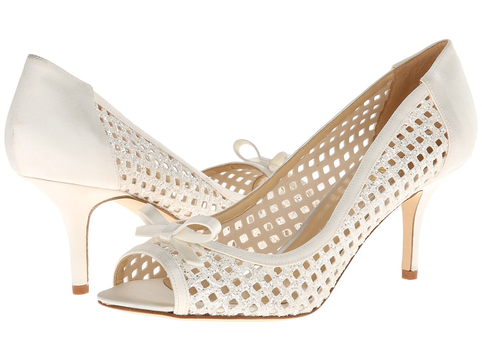 Kate Spade New York - Susana (White Glitter Grid Fabric/Ivory Satin) High Heels