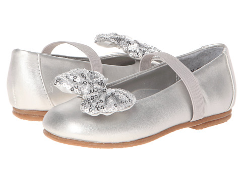Jumping Jacks Kids - Peek-A-Bow (Toddler/Little Kid/Big Kid) (Silver Metallic/Silver Sequin Trim) Girl's Shoes