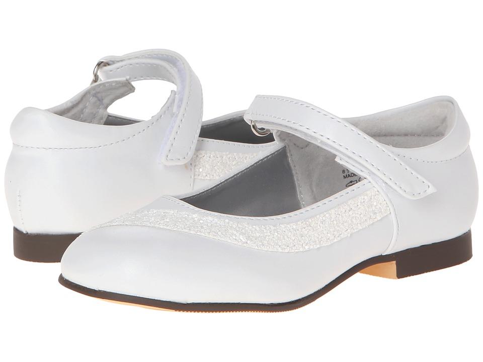 Jumping Jacks Kids - Danielle (Toddler/Little Kid) (White Smooth/White Glitter Trim) Girl's Shoes