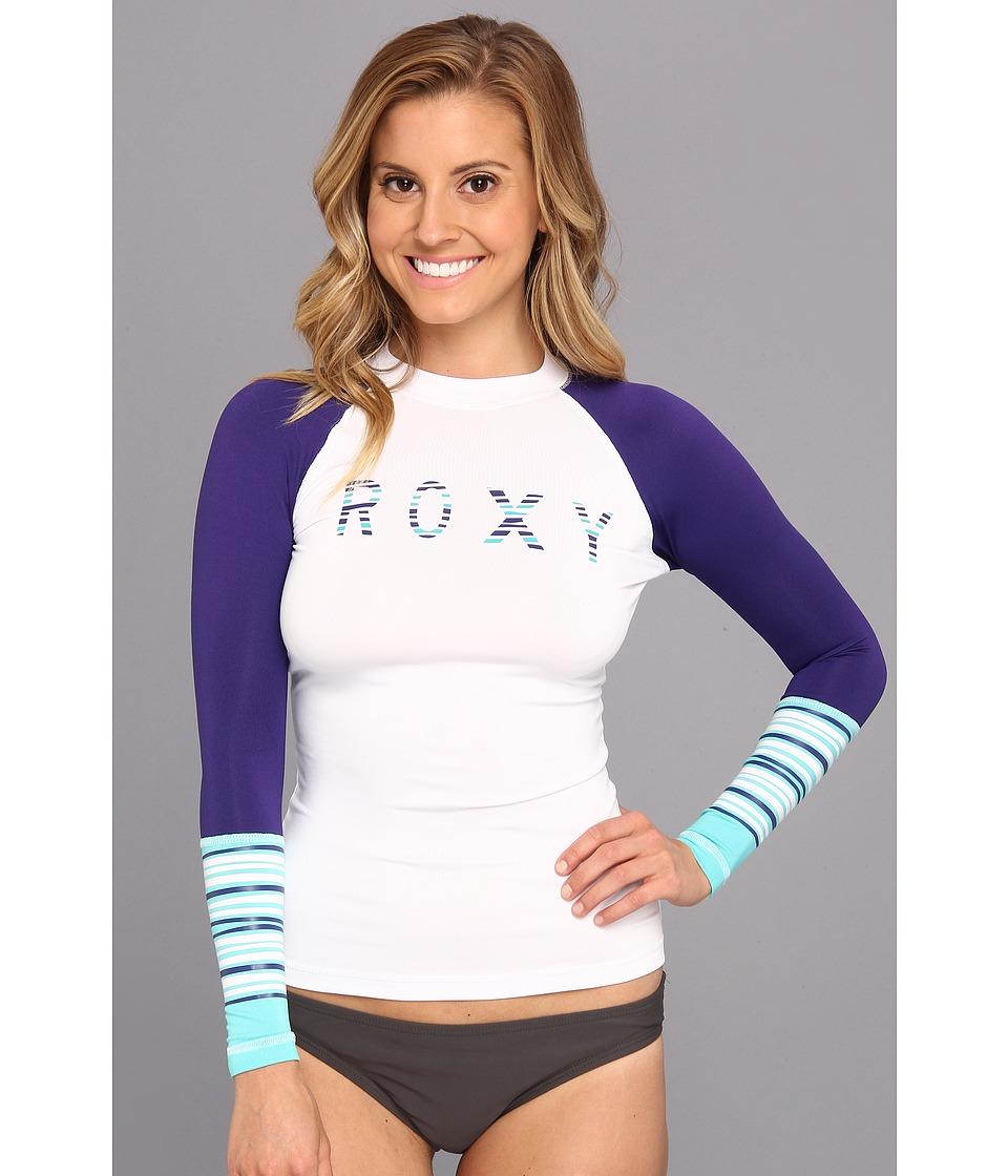 Roxy Perfect Stripe L/S Surf Shirt (White/Deep Blue) Women