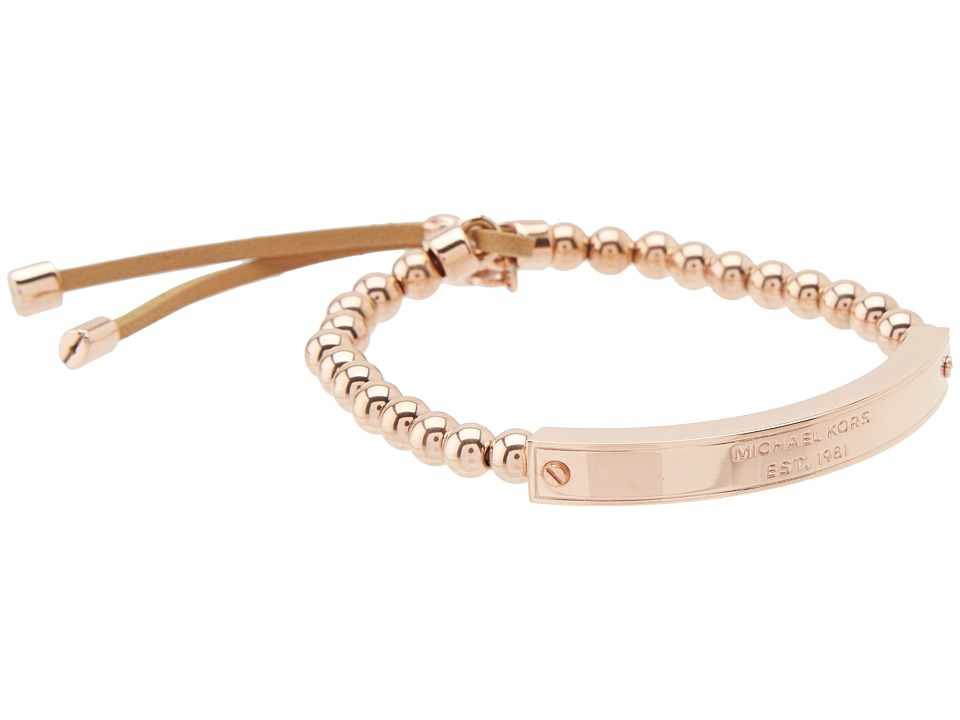 Michael Kors - Logo Plaque Stretch Bead Bracelet (Rose Gold) Bracelet