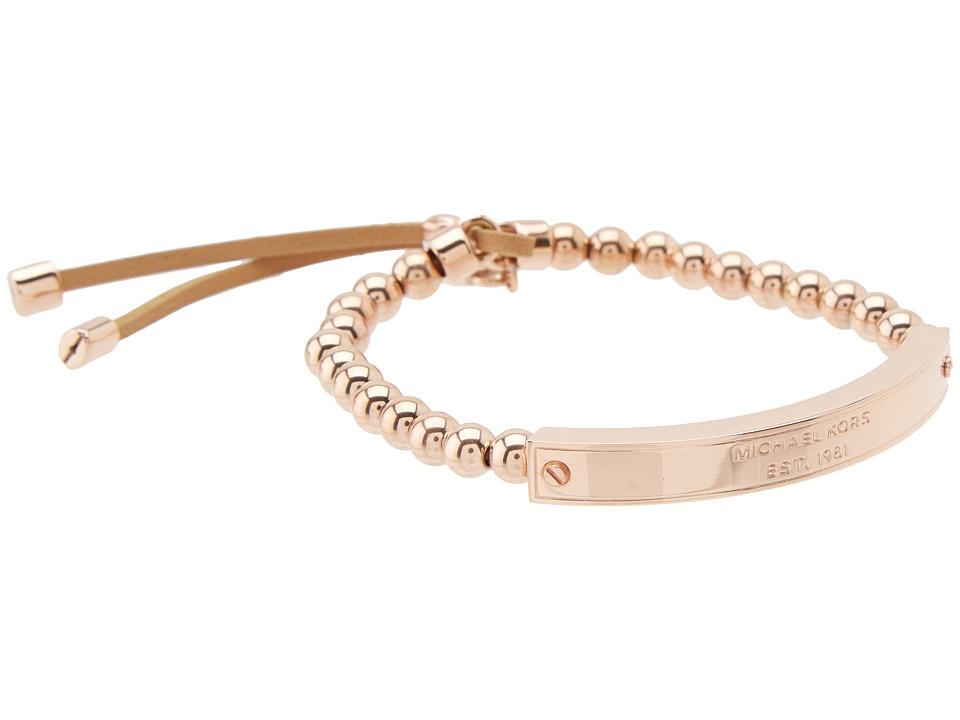 Michael Kors - Logo Plaque Stretch Bead Bracelet (Rose Gold) Bracelet