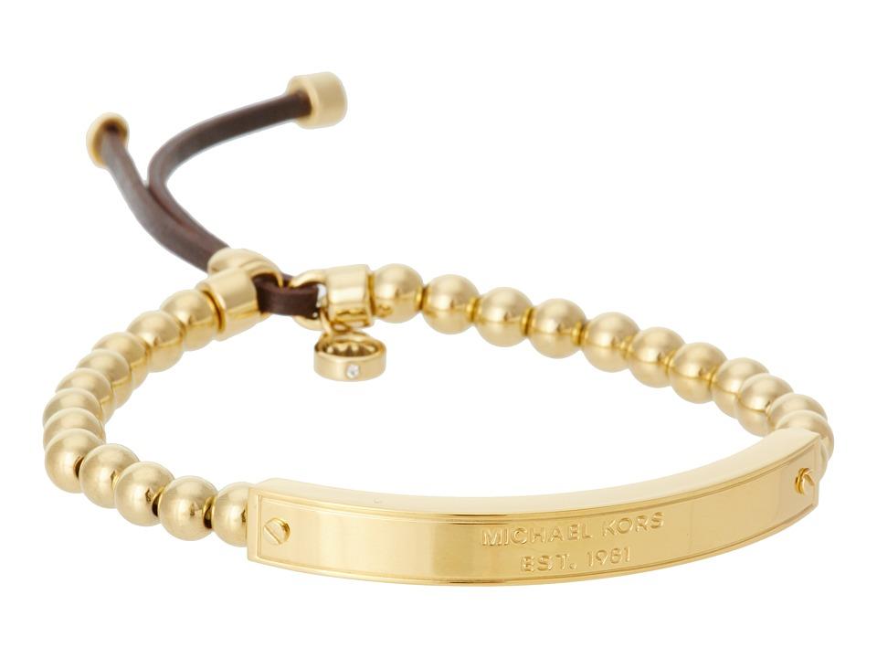 Michael Kors - Logo Plaque Stretch Bead Bracelet (Gold) Bracelet