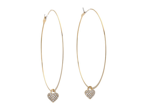 Michael Kors - Heart Drop Whisper Hoop (Gold/Clear Pav ) Earring