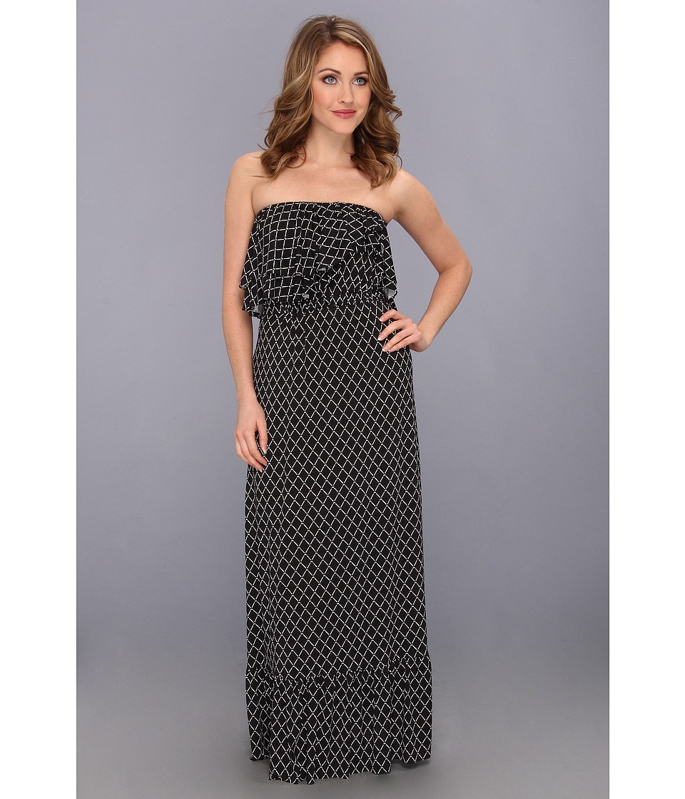 Tbags Los Angeles - Layered Ruffle Tube Maxi Dress (DA4) Women