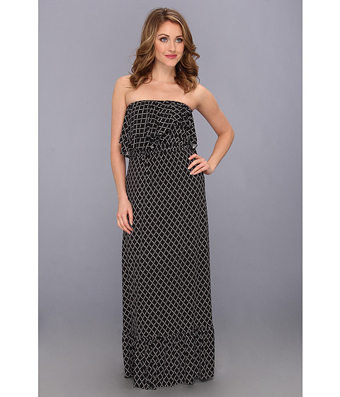 Tbags Los Angeles - Layered Ruffle Tube Maxi Dress (DA4) Women