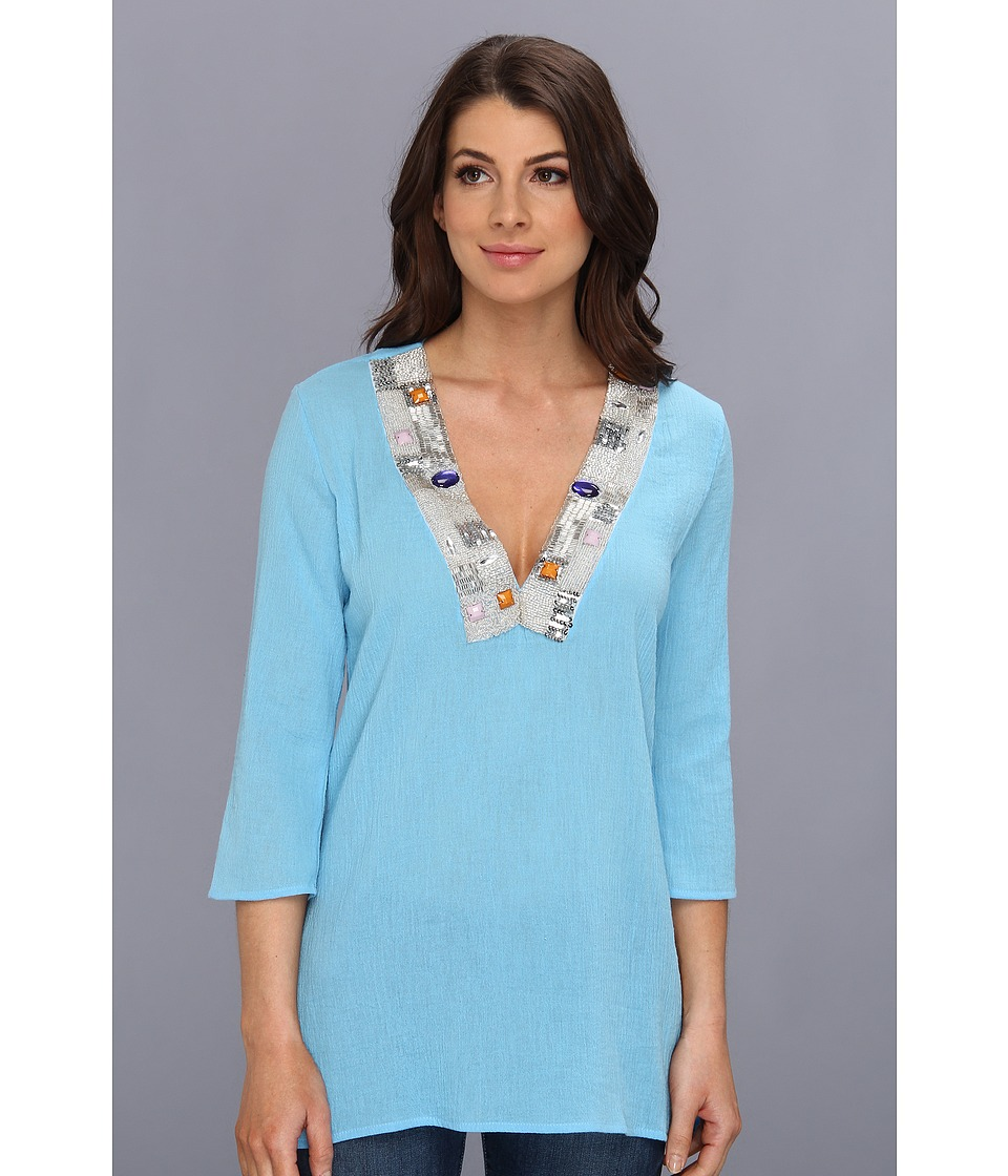 Tbags Los Angeles - Gauze Tunic w/ Beaded Neckline (Blue) Women's Blouse