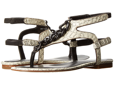 10 Crosby Derek Lam - Damast (White Croco Print Snake) Women's Sandals